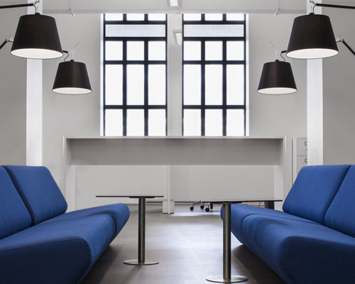 Tolomeo mega black floor in the Why Not Blue Office.